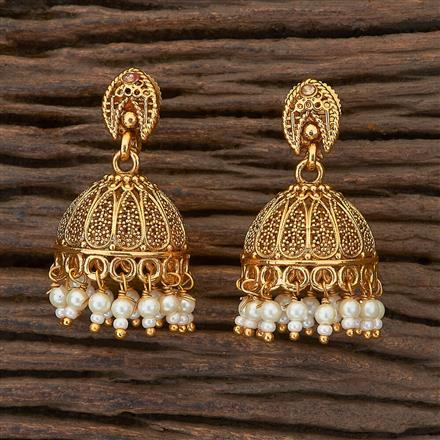 204761 Antique Jhumkis with gold plating
