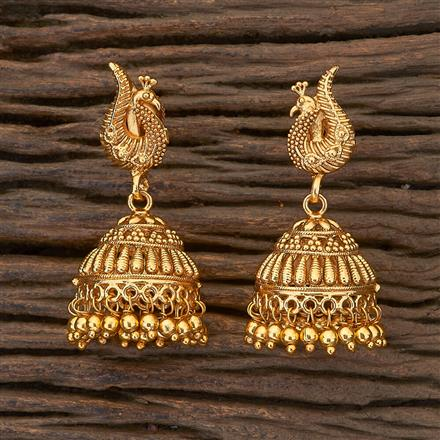 204765 Antique Jhumkis with gold plating