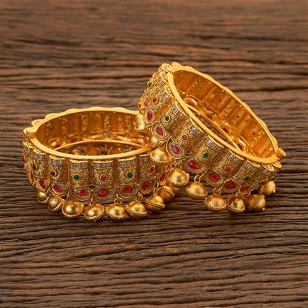 204767 Antique Openable Bangles with matte gold plating