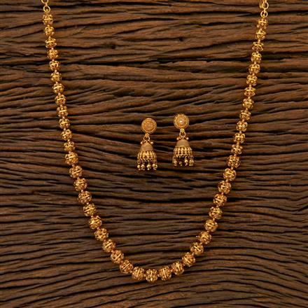 204808 Antique Mala Necklace with matte gold plating