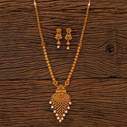 204823 Antique Long Necklace with matte gold plating