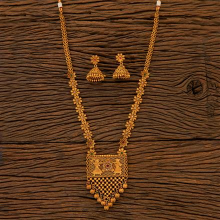 204824 Antique Long Necklace with matte gold plating
