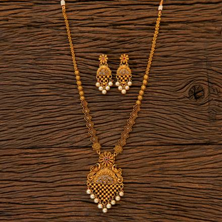 204826 Antique Long Necklace with matte gold plating