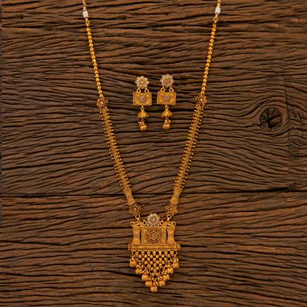 204827 Antique Long Necklace with matte gold plating