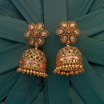 204854 Antique Jhumkis with gold plating