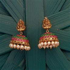 204858 Antique South Indian Earring with matte gold plating
