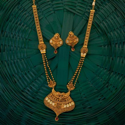 204886 Antique South Indian Necklace with matte gold plating