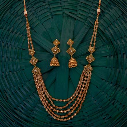 204902 Antique Long Necklace with gold plating