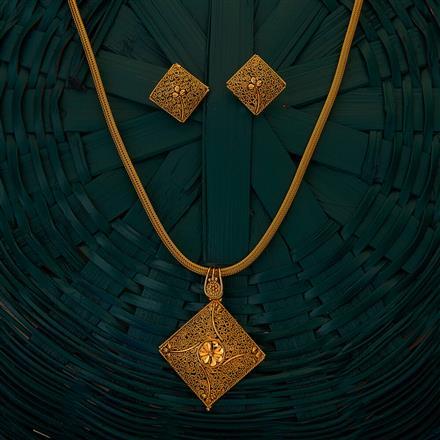 204922 Antique Plain Pendant set with gold plating