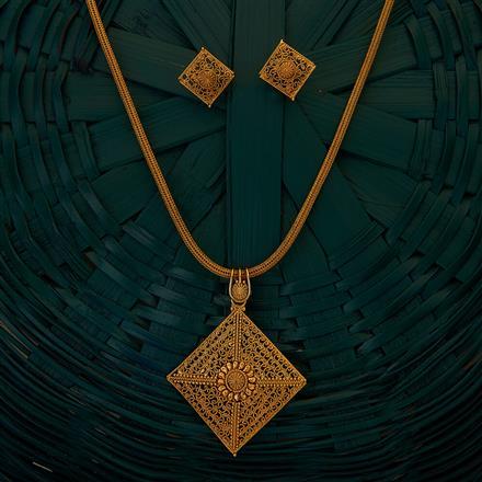 204923 Antique Plain Pendant set with gold plating