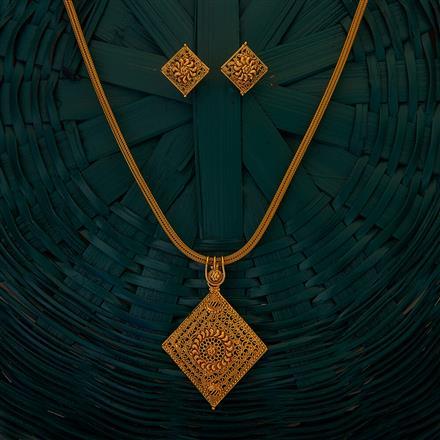 204924 Antique Plain Pendant set with gold plating
