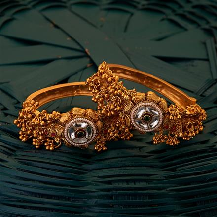 204928 Antique South Indian Bangles with matte gold plating