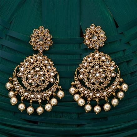 204936 Antique Chand Earring with mehndi plating