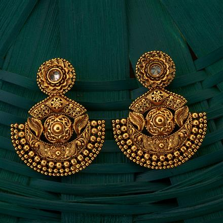 204957 Antique Peacock Earring with gold plating