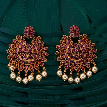 204964 Antique South Indian Earring with matte gold plating