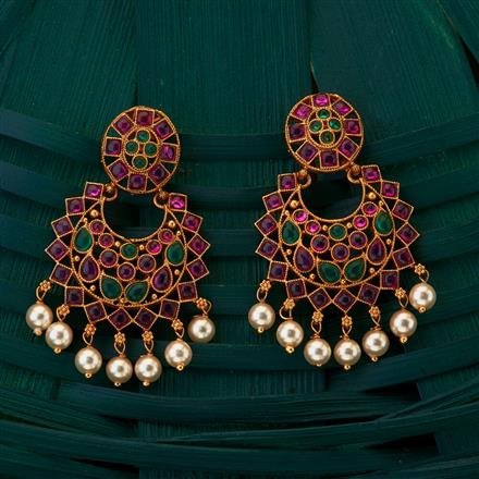 204967 Antique South Indian Earring with matte gold plating