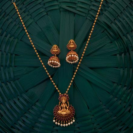 204968 Antique Temple Pendant set with matte gold plating