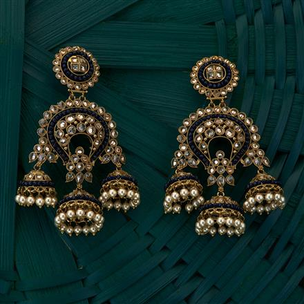 204989 Antique Jhumkis with mehndi plating