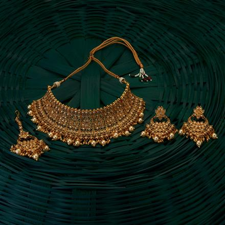 204991 Antique Mukut Necklace with gold plating