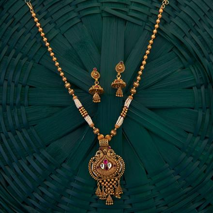 204992 Antique Peacock Pendant set with matte gold plating