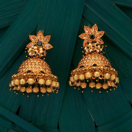 204999 Antique Jhumkis with gold plating