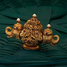 205035 Antique Classic Sindoor Box with gold plating