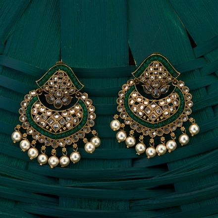 205039 Antique Chand Earring with mehndi plating