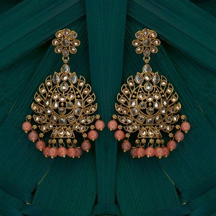 205041 Antique Chand Earring with mehndi plating