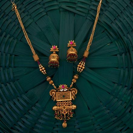 205046 Antique South Indian Pendant with matte gold plating