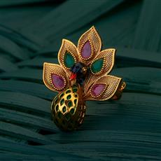 205052 Antique Peacock Ring with gold plating