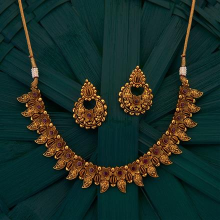 205061 Antique South Indian Necklace with gold plating