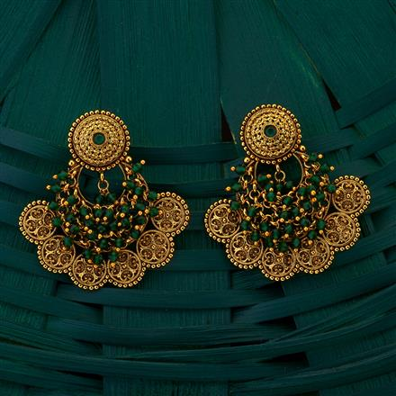 205063 Antique Chand Earring with gold plating