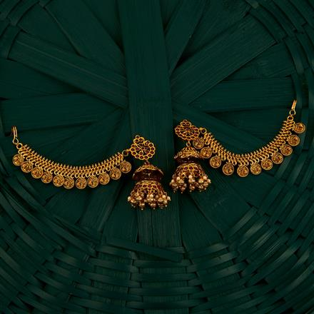 205075 Antique Earring With Chain With Gold Plating