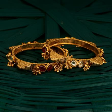 205083 Antique Classic Bangles With Matte Gold Plating