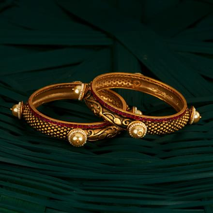 205084 Antique Classic Bangles With Matte Gold Plating