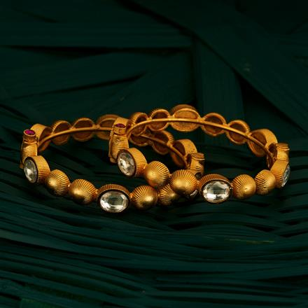 205085 Antique Openable Bangles With Matte Gold Plating