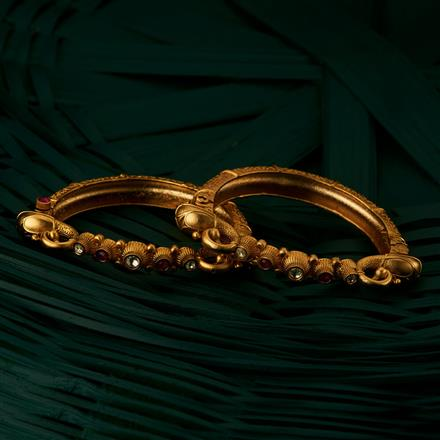 205086 Antique Openable Bangles With Matte Gold Plating