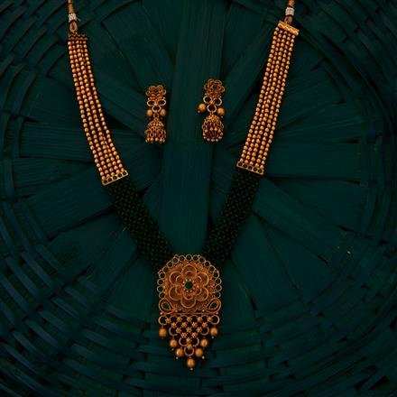 205087 Antique Mala Necklace With Matte Gold Plating