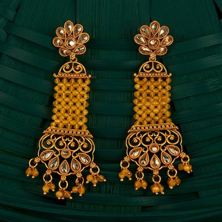 205105 Antique Long Earring With Gold Plating
