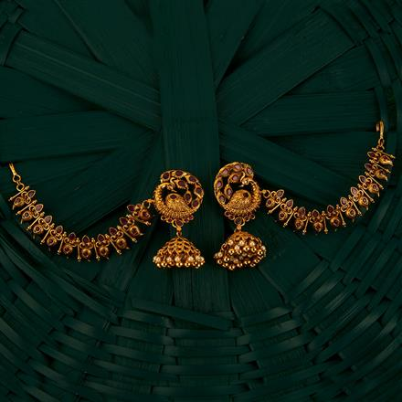 205109 Antique Earring With Chain With Gold Plating