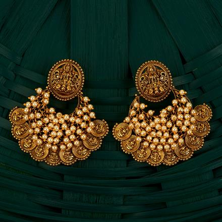 205110 Antique Chand Earring With Gold Plating