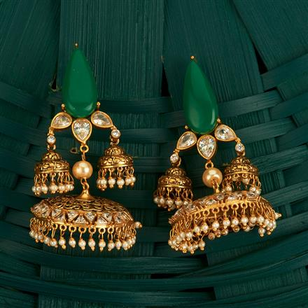 205119 Designer Jhumkis With Gold Plating