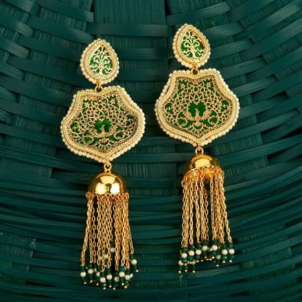 205132 Antique Jhumkis With Gold Plating