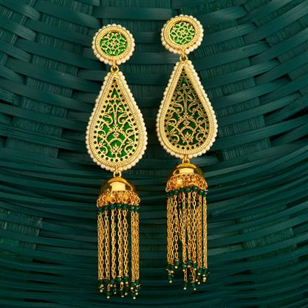 205133 Antique Long Earring With Gold Plating