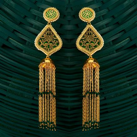 205134 Antique Jhumkis With Gold Plating