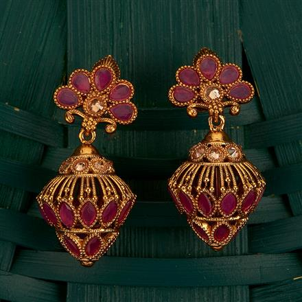 205161 Antique Jhumkis With Gold Plating
