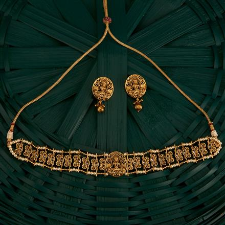 205176 Antique Peacock Necklace With Gold Plating