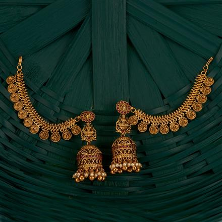 205177 Antique Earring With Chain With Gold Plating