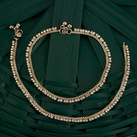 205184 Antique Delicate Payal With Rhodium Plating