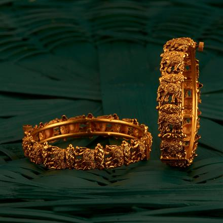 205192 Antique Openable Bangles With Matte Gold Plating